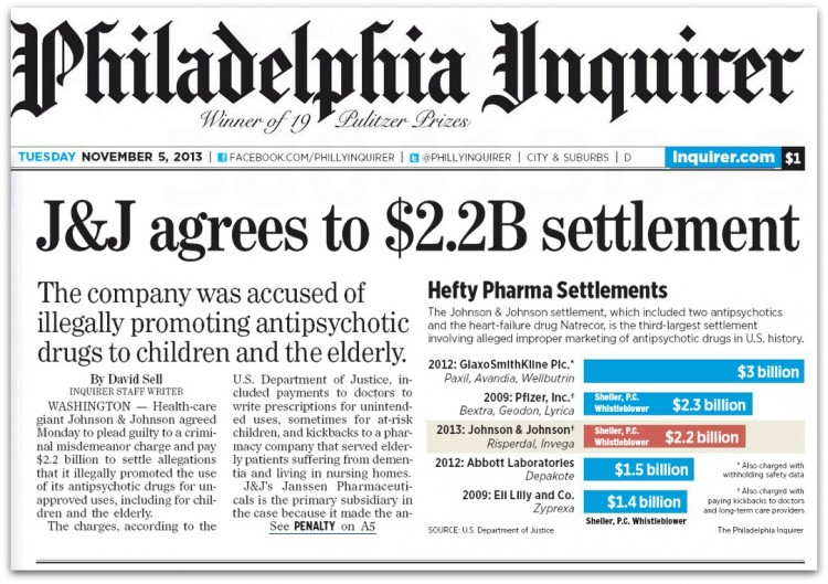 Philadelphia Inquirer page 1 J&J $2.2B Settlement 11_5_13 with annotations better font drop shadow