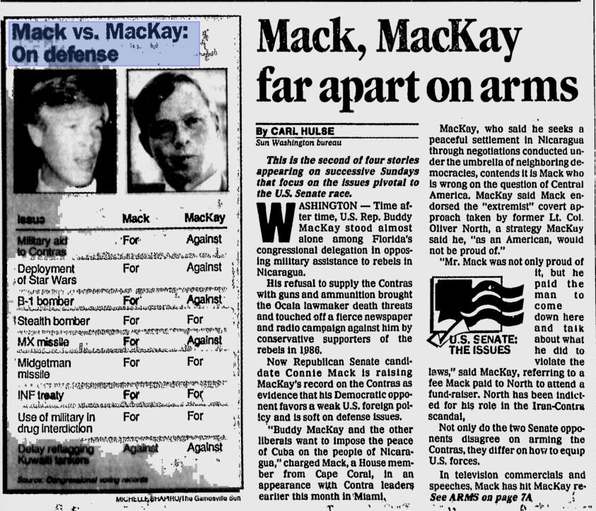 Mack vs. Mackay for Florida U.S. Senate seat. Credit: Gainsesville Sun, Oct. 23, 1988