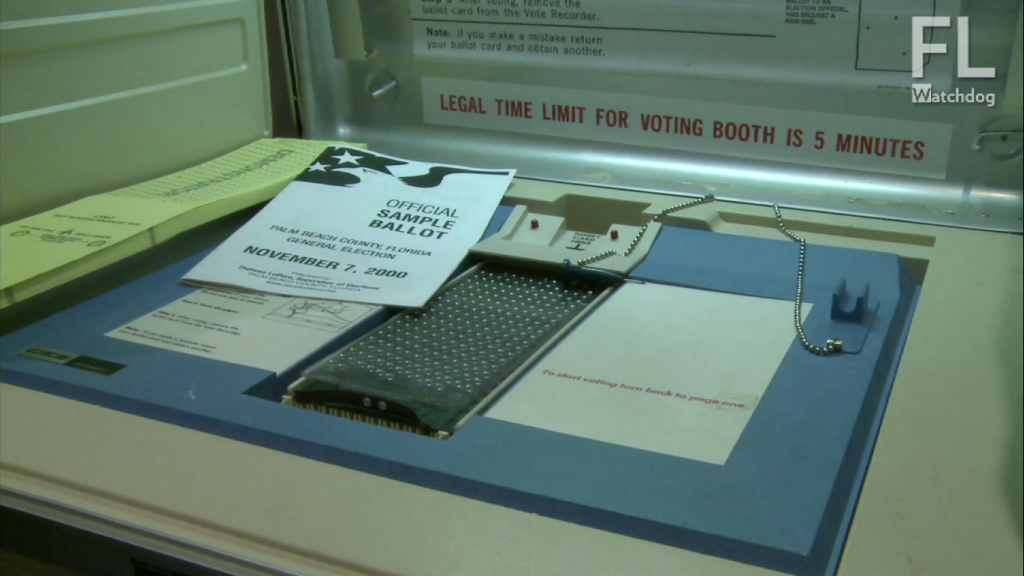 Votomatic machine used in Palm Beach County, FL for Bush v. Gore election. Credit: Florida Watchdog.org